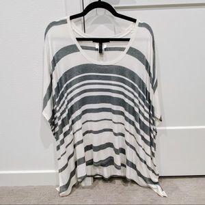 BCBG MAXAZRIA Gray and White Striped Top